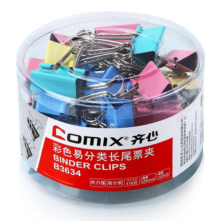 齐心B36344#彩色长尾夹(筒装)25毫米,彩色,48个/筒(筒)