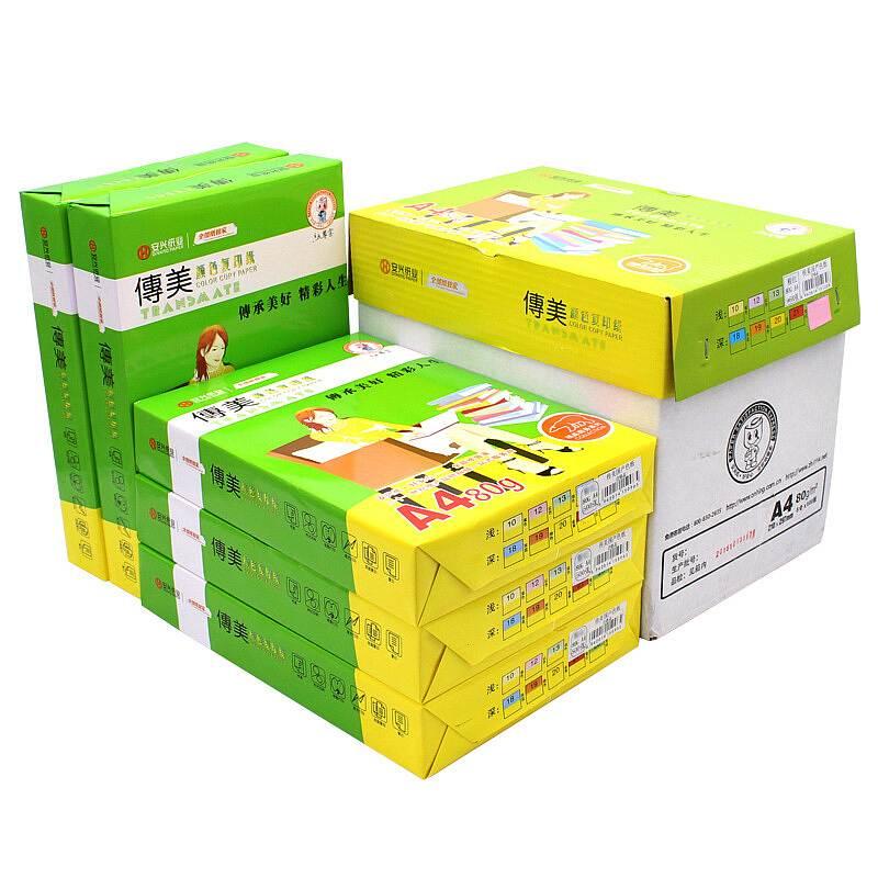 传美 80g/A4淡彩色复印纸 100张/包,25包/箱(单位:箱) 浅绿