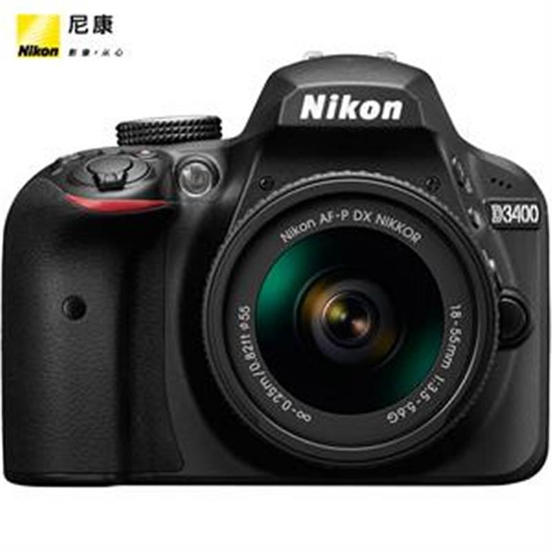 尼康D3400单反相机套装(AF-P DX 尼克尔 18-55mm f/3.5-5.6G VR防抖镜头 )配16G存储卡 尼康原装包 带云台三脚架 (单位:台)