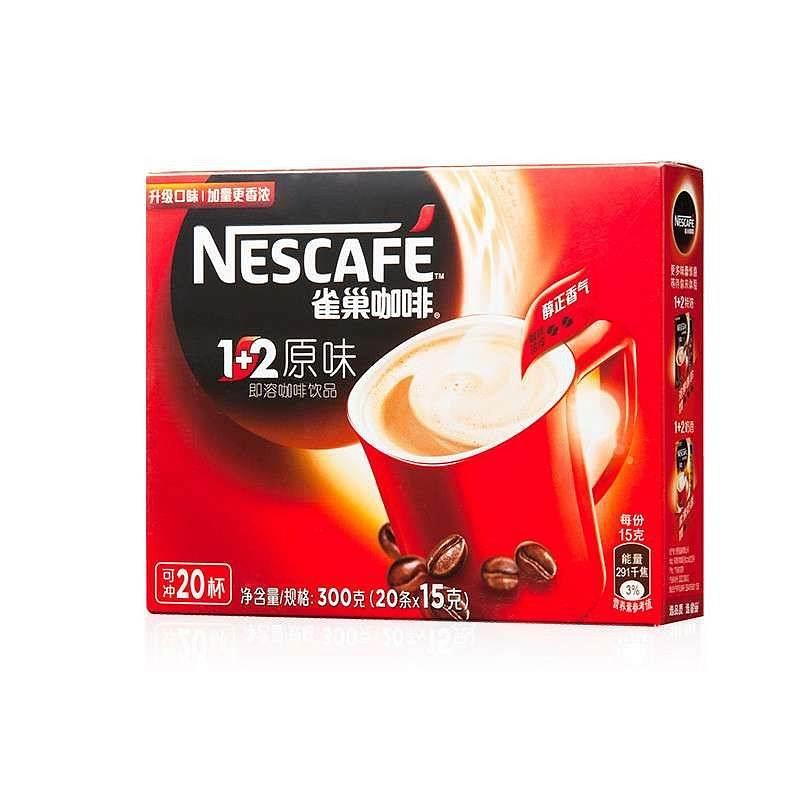 雀巢1+2原味300克咖啡15克*20条/盒 (单位:盒)